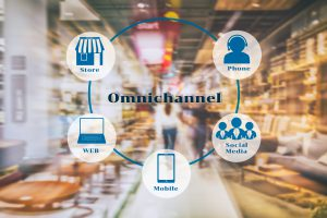 Marketing Data mangement platform and Omnichannel concept image. Omnichannel element icons on abstract furniture mart background.